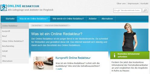 Infos zum Online Redakteur in neuem Portal