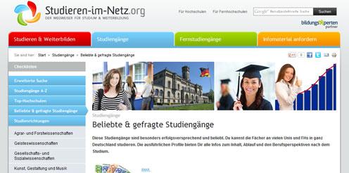 Screenshot Studieren im Netz