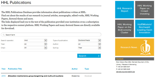 Screenshot HHL Publikationsdatenbank