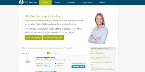 MBA-Ranking - MBA Studium suchen und finden